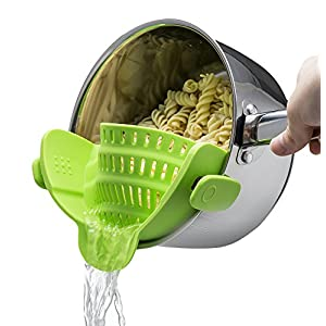Kitchen Gizmo Snap N Strain Strainer, Clip On Silicone Colander, Fits all Pots and Bowls – Lime Green