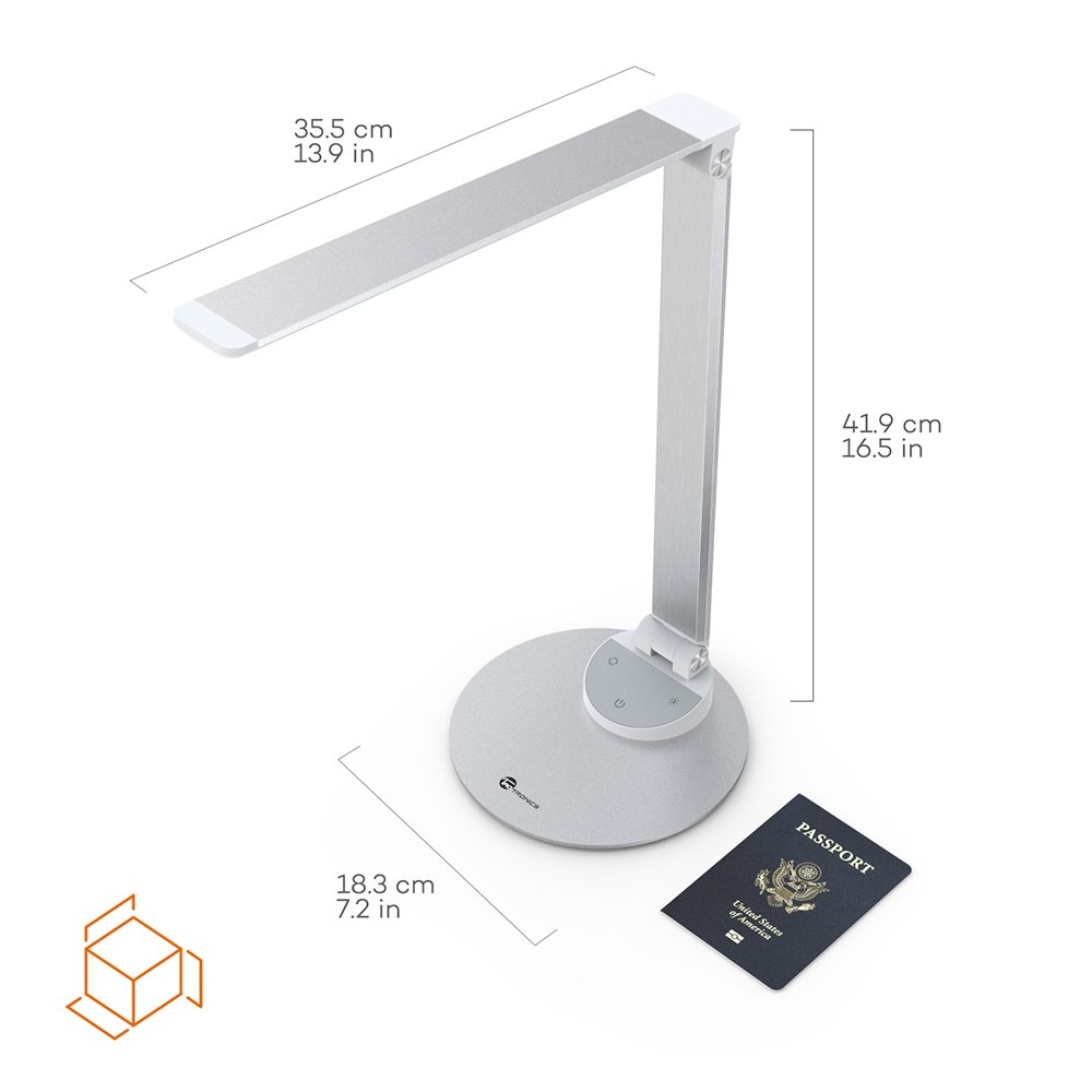 TaoTronics LED Desk Lamp with USB Charging Port, Eye- care Dimmable Lamp, 5 Color Temperatures with 5 Brightness Levels, Touch Control, Metal, Official Member of Philips EnabLED Licensing Program by TaoTronics (Image #8)