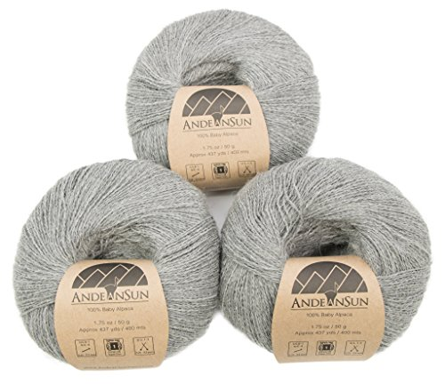 100% Baby Alpaca Lace - 100% Baby Alpaca Yarn (Weight #1) LACE - Set of 3 Skeins 150 Grams Total- Luxurious and Caring Soft for Knitting, Crocheting and Any lace Weight Project - Light Gray