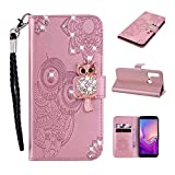 Amocase Wallet Case with 2 in 1 Stylus for Huawei P20 Lite 2019,3D Bling Gems Owl Magnetic Mandala Embossing Premium Strap PU Leather Card Slot Stand Case for Huawei P20 Lite 2019 - Rose Gold