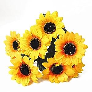 BYyushop 1 Bouquet Artificial Sunflower 7 Heads Faux Silk Flowers Home Wedding Decor 5