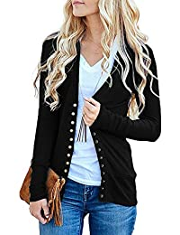 Women's Long Sleeve V-Neck Button Down Knit Open Front Cardigan Sweater
