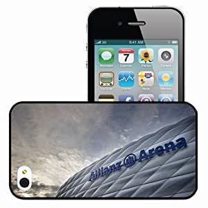 Personalized iPhone 4 4S Cell phone Case/Cover Skin Allianz Arena Munich Germany Stadium Bavaria Black