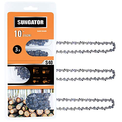 """SUNGATOR 3-Pack 10 Inch Chainsaw Chain SG-S40, 3/8"""" LP Pitch - .050"""" Gauge - 40 Drive Links, Compatible for Remington, Craftsman, Poulan, Worx, Ryobi"""