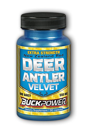 Natural Sport Deer Antler Velvet with Extra Strength and Buck Power, White, 30 Count