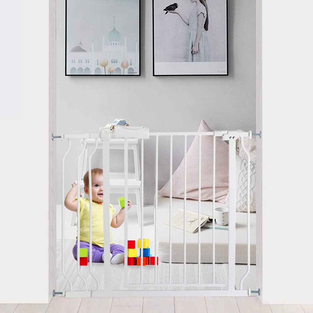 Bonnlo 38.58'' W Safety Baby Gate Dog Gate Extra Wide Child Gate with Extention Kit & Auto Close Door for Stairs, Doorways and Hallways, 31'' H