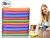 ForNeat Dish Rags Dish Cloths Kitchen Washcloths-10 Pieces 5 Colors Microfiber Glass Cleaning Cloths, Lint Free - Streak Free | Quickly Easily Clean Windows & Mirrors, 12 12-Inch