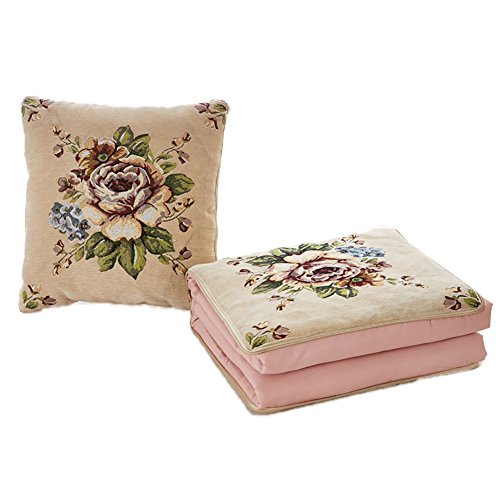 Pillows Quilt Dual-Use Car Air Conditioning Quilt Multi-Function Home Decorative Throw High Precision Jacquard Fabric Cushion 2 In 1 Big Size (Holidays Cotton Quilt Fabric)