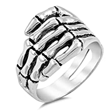 Antique Style Skeleton Bone Hand Mens Womens Sterling Silver Ring Sizes 7-14