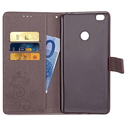 SRY-Conjuntos de teléfonos móviles de Huawei Para Xiaomi Max Case, Lucky Trébol en relieve estilo de la caja PU Funda de cuero caso de la cartera de la cubierta con la ranura de la tarjeta de efectivo Gray