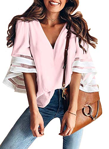 AlvaQ Women Ladies Summer V Neck Tops Casual Shirts Blouse 3/4 Bell Sleeve Loose Tunic Tops Fashion 2019 Plus Size Pink 2X