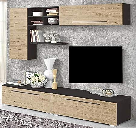 árbol de – Pared Modular para salón – Color: plomo y roble blanca – composición Esencial y práctica A