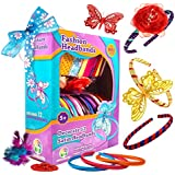 12 Satin Headbands for Girls Fashion DIY Headbands Making Kit for Women Girl Hair Accessory Jewelry Flowers Butterfly Rhinestones Feathers Arts and Crafts for Girls Make Your Own Headbands Set Toy