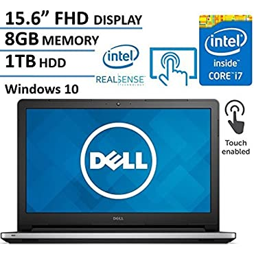 Dell Inspiron 15.6 Full HD Touchscreen Flagship Laptop Computer, Intel Core i7-6500U 2.5Ghz, 8GB DDR4 RAM, 1TB HDD, DVDRW, 802.11ac WIFI, Intel RealSense 3D Camera, Bluetooth, HDMI, Windows 10
