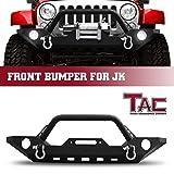 TAC Front Bumper Fit 2007-2018 Jeep Wrangler JK (Exclude 2018 Wrangler JL Models) Black Textured Rock Crawler Off Road Style Brush Bumper Guard