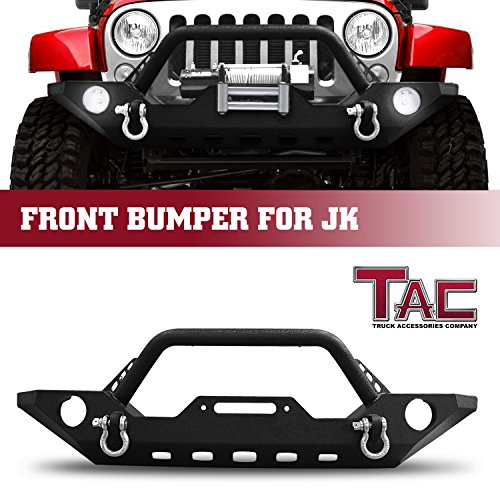 TAC Front Bumper for 2007-2018 Jeep Wrangler JK (Exclude 2018 Wrangler JL Models) Black Textured Rock Crawler Off Road Style Brush Bumper Guard