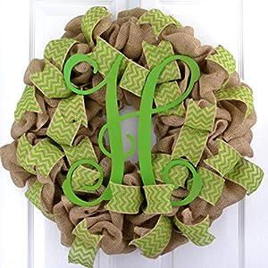 Monogram Wreath | Monogram Gift | Green Burlap Chevron Front Door Wreath - LOTS OF COLORS 106