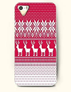 OOFIT Authentic Cases for iPhone 5/5S - Hard Back Plastic Case /Merry Christmas Xmas/ Red White Christmas Reindeer and Snow Flakes