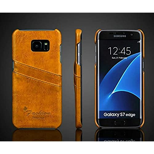 S7 Edge Case,E-fashion Samsung Galaxy S7 edge Case Premium PU Leather Wallet Case with Credit Card ID Holders,Business Style PU Leather Case Back Cover-Yellow Sales
