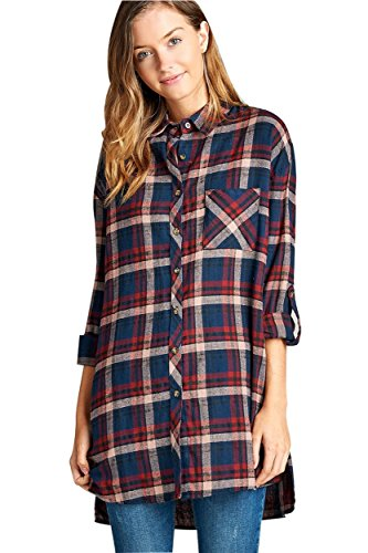 Ollie Arnes Women's Boyfriend-Inspired Soft Plaid Flannel Shirt and Shirt Dress 01_ NAVYBURGUNDY S