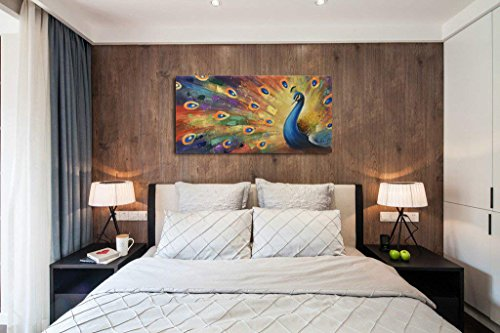 UAC WALL ARTS 100% Hand-Painted 3D Painting on Canvas Colorful Peacock Oil Painting Modern Animal Home Sitting Room Decor Canvas Wall Art Ready to Hang by UAC WALL ARTS (Image #2)