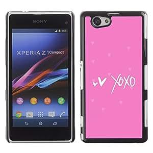 For Sony Xperia Z1 Compact / Z1 Mini / D5503 Case , Pink Stars Kisses Love Hearts Valentine - Diseño Patrón Teléfono Caso Cubierta Case Bumper Duro Protección Case Cover Funda