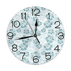 GULTMEE Silent Wall Clock Non Ticking 10 inch Quartz Round Decorative, Rainforest Sea Coasts Palm Trees Happy Times Simple Monochromic Art