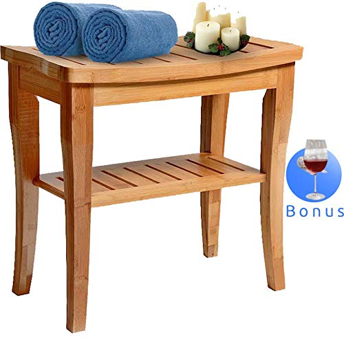 Bamboo Shower Bench Seat Wooden Spa Bath Deluxe Organizer Stool With Storage Shelf For Seating Chair Perfect For Indoor Or Outdoor - Plus Free Value Gift Including -One Year Warranty. By House Ur Home