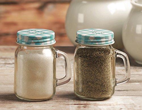 Circleware 66745 Mini Mason Jar Yorkshire Mug Salt and Pepper Shakers, 2-Piece Set, 5 oz, Blue For Sale