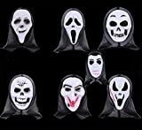 Anleolife 7pcs Halloween Mask Scary Bloody Scream Ghost Face Mask Dripping Blood Halloween Costume Design Send by Random