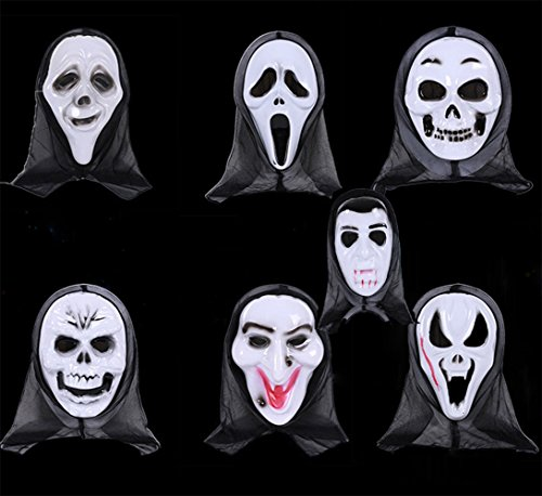 Anleolife 7pcs Halloween Mask Scary Bloody Scream/Ghost Face Mask Dripping Blood Halloween Costume Design Send by Random