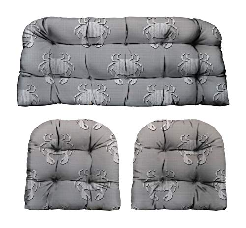 RSH Décor Indoor Outdoor Decorative 3 Piece Tufted Love Seat/Settee & 2 U-Shaped Chair Cushion Set for Wicker (Standard ~ 2-19