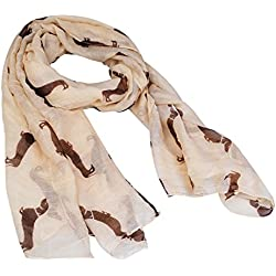 Fashion 9 Color Animal Dachshund Dog Print Scarf Pashmina Women Scarves (Beige)