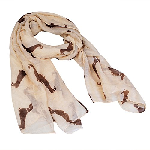 (Fashion 9 Color Animal Dachshund Dog Print Scarf Pashmina Women Scarves (Beige))