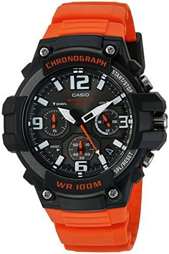Casio Men s Sports Stainless Steel Quartz Watch with Resin Strap, Orange, 25 Model MCW100H-4AV