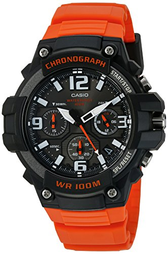 Casio Men's Sports Stainless Steel Quartz Watch with Resin Strap, Orange, 25 (Model: MCW100H-4AV)