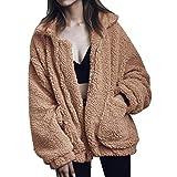 NINGZ Womens Fashion Coat Casual Lapel Fleece Fuzzy Faux Shearling Zipper Coats Oversized Outwear Winter Jackets with Pockets
