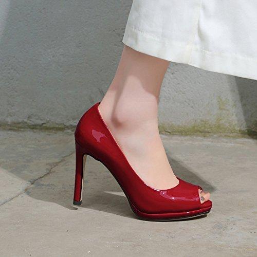 la Toe Modeuse Peep Aiguille Talon Rouge Mariage Femmes Elegantes Y2Y Studio Soirée pour Vernis Escarpins Sexy wavvXP
