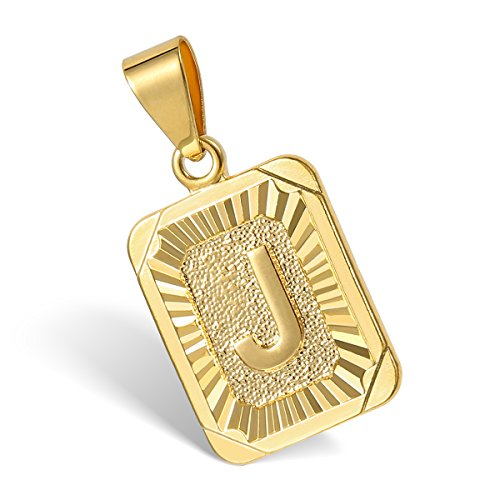 Hermah Gold Plated Charm Pendant Initital Capital Letter A-Z Mens Pendant Square Charm Fashion New Design