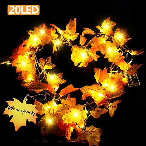 Gamegie Thanksgiving Decorations Fall Garland with Thanks Cards, Christmas String Lights 8.2 Feet 20 LED