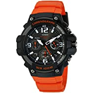 Men's 'Heavy Duty Chronograph' Quartz Stainless Steel and Resin Casual Watch, Color:Orange...