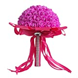 YXTech Artificial Wedding Bride Bouquet Handmade Rose Flowers For Wedding Party Home Decoration (hot pink)