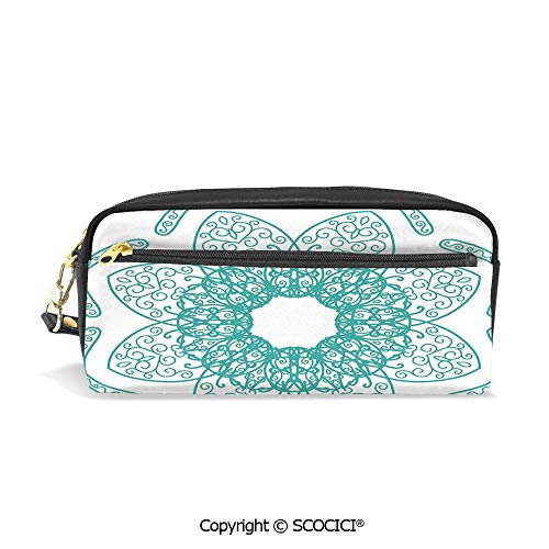 Girls Boys 3D Printed PU Pencil Case Holders Bag with Zipper Persian Style Oriental Floral Pattern with Middle Eastern Authentic Bohemian Effects Stationery Makeup Cosmetic Bags Back to School