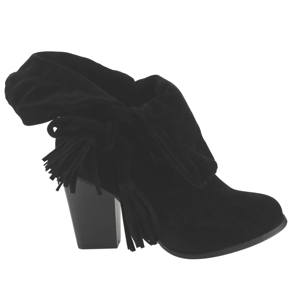 ED69 Women's Slouchy Strap Ankle High Stacked Heel Ankle Booties