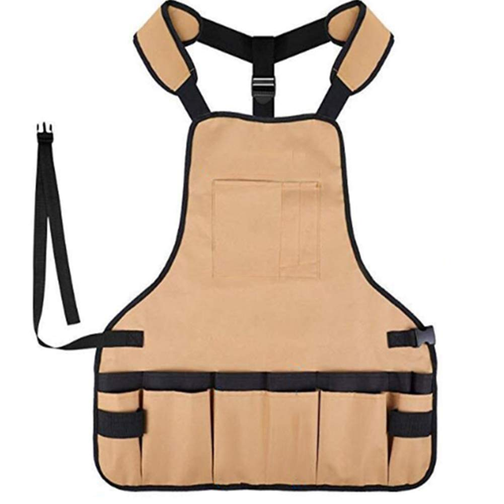 Tool Apron,Heavy Duty Canvas Waterproof Tool Aprons Wear-Resistant Multifunction Adjustable Unisex Gardening Workshop Carpenters Protective Clothing by ZMYLOVE