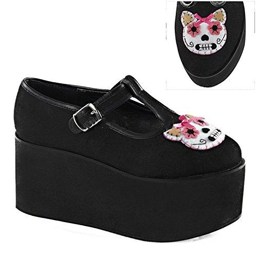 Demonia Women's Click 04 1 T-Strap Sandals, Black Canvas, 11 (Canvas T-strap Sandals)