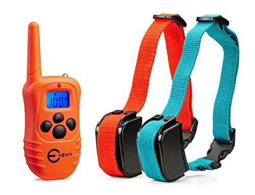 esky-rechargeable-lcd-remote-dog-training-collar-with-beep-vibration-shock-for-2-dogs