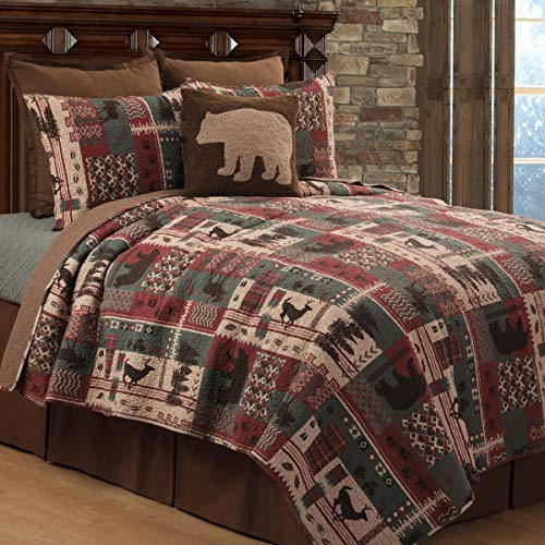 Rustic Wild Animal Moose Deer Quilt Full/Queen Elk Bear Woodsy Theme Bedding Striped Reversible Oversized Mosaic Motifs Vermicelli Stitch Classic Cotton 92x90, 3 Piece