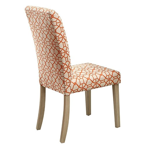Acme Furniture 71909 Glassden Side Chair (Set of 2), Orange Fabric & Light (Parsons Chair Glass Table)