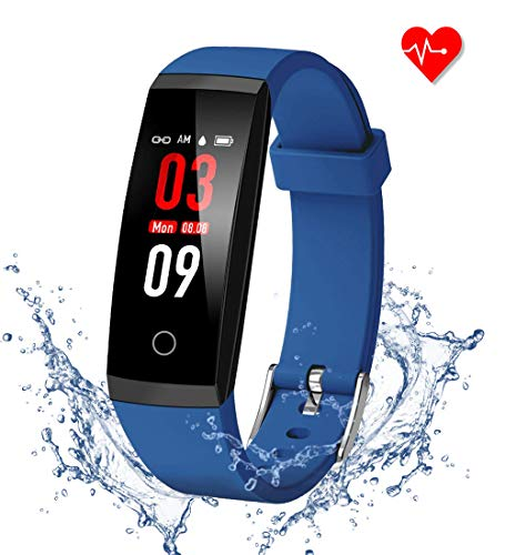 GOOPOW Fitness Tracker HR, Activity Tracker Watch with Heart Rate Monitor, Waterproof Smart Fitness Band with Step Counter, Calorie Counter, Pedometer Watch for Kids Women and Men (Black+Blue)